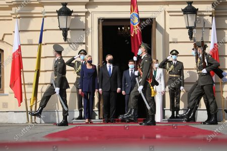 Stock Picture of Polish President Andrzej Duda (4L) with his wife Agata Kornhauser-Duda (3L) and President of Ukraine Volodymyr Zelenski (5R) with wife Olena Zelenska (3R) during the official welcome iin front of the Mariyinsky Palace in Kiev, Ukraine 12 October 2020. President Duda and his wife are on an official visit to Ukraine.