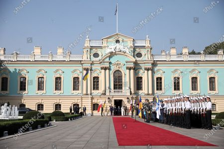 Polish President Andrzej Duda (C-L) with his wife Agata Kornhauser-Duda (C-2L) and President of Ukraine Volodymyr Zelenski (C-R) with wife Olena Zelenska (C-2R) during the official welcome iin front of the Mariyinsky Palace in Kiev, Ukraine 12 October 2020. President Duda and his wife are on an official visit to Ukraine.