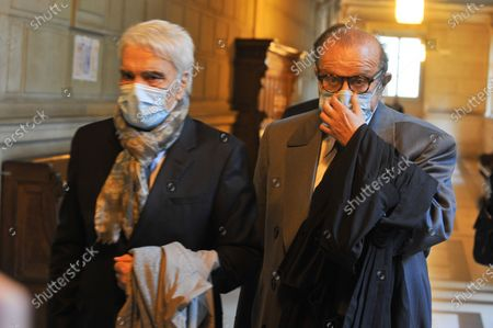 Bernard Tapie and his lawyer Mr Herve Temime arrive at the Paris Court of Appeal