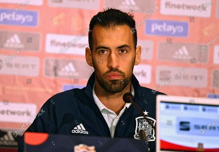 Midfielder of Barcelona and the national football team of Spain Sergio Busquets ispictured during the press conference ahead of the UEFA Nations League matchday 4 game against the Ukrainian team, Kyiv, capital of Ukraine.