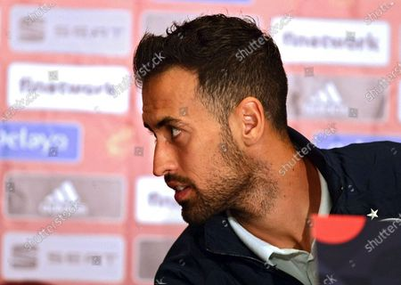 Stock Photo of Midfielder of Barcelona and the national football team of Spain Sergio Busquets ispictured during the press conference ahead of the UEFA Nations League matchday 4 game against the Ukrainian team, Kyiv, capital of Ukraine.