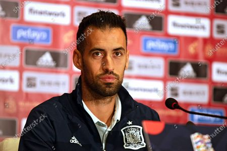Editorial image of Pre-match news conference of Sergio Busquets in Kyiv, Ukraine - 12 Oct 2020