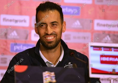 Stock Image of Midfielder of Barcelona and the national football team of Spain Sergio Busquets ispictured during the press conference ahead of the UEFA Nations League matchday 4 game against the Ukrainian team, Kyiv, capital of Ukraine.