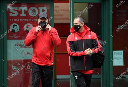 Wayne Pivac and John Miles during the first day of camp for the Welsh rugby squad.
