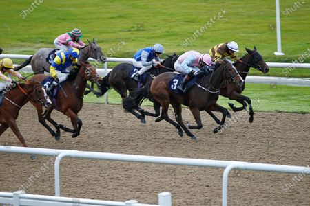 The Sedberghian and James Sullivan [far] wins the Visit The Black Country Fillies Novice Auction Stakes at Wolverhampton from Al Ghariyah and Evening Song.