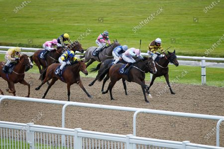 Stock Photo of The Sedberghian and James Sullivan [far] wins the Visit The Black Country Fillies Novice Auction Stakes at Wolverhampton from Al Ghariyah and Evening Song.