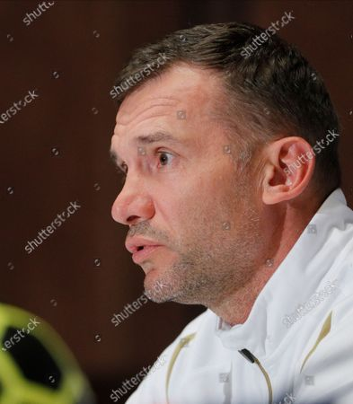 Ukrainian national soccer team head coach Andriy Shevchenko attends a press conference in Kiev, Ukraine, 12 October 2020. Ukraine will face Spain in their UEFA Nations League group stage, league A, group 4 soccer match in Kiev, Ukraine on 13 October 2020.