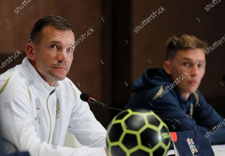 Ukrainian national soccer team head coach Andriy Shevchenko (L) and his player Serhiy Sydorchuk (R) attend a press conference in Kiev, Ukraine, 12 October 2020. Ukraine will face Spain in their UEFA Nations League group stage, league A, group 4 soccer match in Kiev, Ukraine on 13 October 2020.