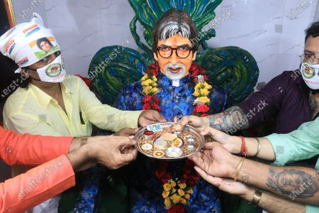 Editorial photo of Free food during Amitabh Bachchan birthday, kolkata, West Bengal, India - 11 Oct 2020