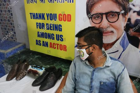Indian Bollywood actor Amitabh Bachchan  Shoe and Ssunglasses display during  Indian Bollywood actor Amitabh Bachchan   78th  birthday in Kolkata,India on October 11, 2020.