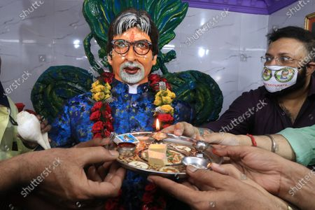 Editorial image of Free food during Amitabh Bachchan birthday, kolkata, West Bengal, India - 11 Oct 2020