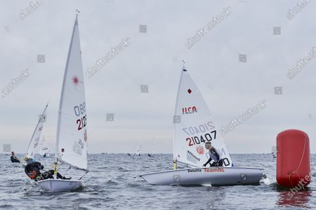 Marit Bouwmeester (R) and Aphne Van Der Vaartna (L) of the Netherlands in action during the Sailing Laser Class European Championships in Gdansk, northern Poland, 12 October 2020 (issued 13 October 2020).