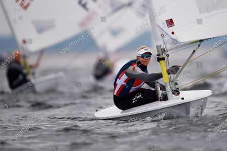 Stock Photo of Anne-Marie Rindom of Denmark in action during the Sailing Laser Class European Championships in Gdansk, northern Poland, 12 October 2020.