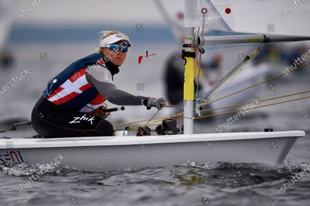 Anne-Marie Rindom of Denmark in action during the Sailing Laser Class European Championships in Gdansk, northern Poland, 12 October 2020.