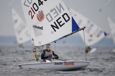 Marit Bouwmeester of the Netherlands in action during the Sailing Laser Class European Championships in Gdansk, northern Poland, 12 October 2020 (issued 13 October 2020).