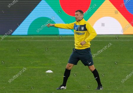 Ukrainian national soccer team head coach Andriy Shevchenko leads the team's training session in Kiev, Ukraine, 12 October 2020. Ukraine will face Spain in their UEFA Nations League group stage, league A, group 4 soccer match in Kiev, Ukraine on 13 October 2020.
