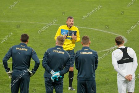 Ukrainian national soccer team head coach Andriy Shevchenko (C) leads the team's training session in Kiev, Ukraine, 12 October 2020. Ukraine will face Spain in their UEFA Nations League group stage, league A, group 4 soccer match in Kiev, Ukraine on 13 October 2020.