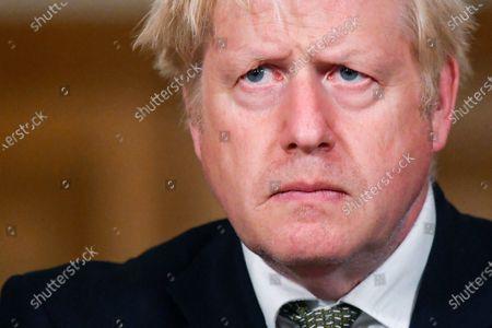 Britain's Prime Minister Boris Johnson looks on during a coronavirus briefing in Downing Street, London