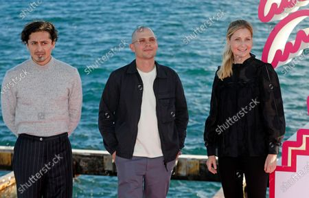 Alexej Manvelov, Swedish directors Alexis Almstrom and Molly Hartleb pose during a photocall for the TV series 'Top Dog' at the Cannes Series Festival in Cannes, France, 12 October 2020. The event runs from 09 to 14 October.