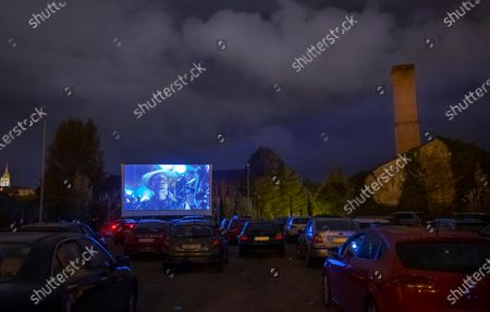 People watch the movie 'Jurassic Park', whose soundtrack composer John Williams will be awarded with the 2020 Princess of Asturias Art Award, during a film passing at a drive-in cinema, as part of the 'Awards Week' of the 2020 Princess of Asturias Award in Oviedo, Asturias, Spain, 12 October 2020. Over 30 exhibitions, performances, concerts and visual events, starting from tonight, will take place along the week, as 2020 Prince of Asturias Award gala will be held at Hotel Reconquista in Oviedo on 16 October 2020.