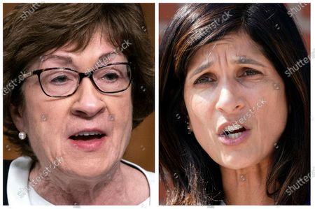 S shows incumbent U.S. Sen. Susan Collins, R-Maine, left, and Maine House Speaker Sara Gideon, D-Freeport, right, who are running in the, election to represent Maine in the U.S. Senate