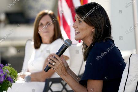 Former U.N. Ambassador Nikki Haley, right, campaigns on behalf of U.S Sen. Martha McSally, R-Ariz., in Scottsdale, Ariz