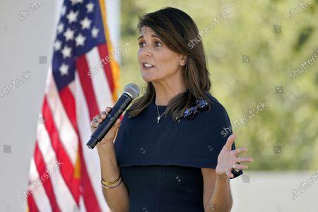 Stock Image of Former U.N. Ambassador Nikki Haley speaks while campaigning for U.S Sen. Martha McSally, R-Ariz., in Scottsdale, Ariz