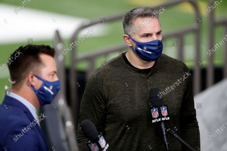 Former football player Kurt Warner speaks on the NFL Network before an NFL football game between the Los Angeles Chargers and New Orleans Saints, in New Orleans