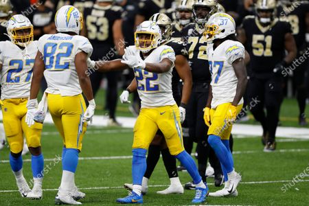 Los Angeles Chargers running back Justin Jackson (22) during an NFL football game against the New Orleans Saints, in New Orleans