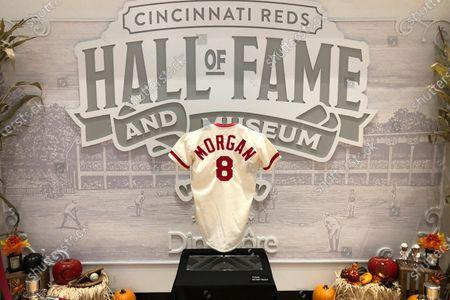 Uniform shirt of Cincinnati Reds Hall of Fame second baseman Joe Morgan ia displayed at the Cincinnati Reds Hall of Fame in Cincinnati, Ohio, . Morgan died at the age of 77 Sunday at his home near San Francisco