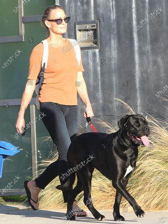 Stock Image of Robin Wright walks her dog in Santa Monica