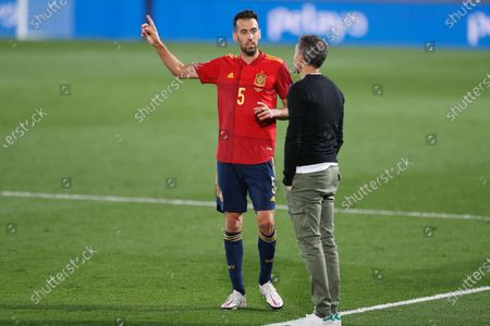 (L-R) Sergio Busquets, Luis Enrique (ESP) - Football / Soccer : UEFA Nations League group stage for final tournament Group A4 Matchday 3 between Spain 1-0 Switzerland at the Estadio Alfredo Di Stefano in Madrid, Spain.