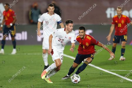 (L-R) Fabian Schar (SUI), Mikel Merino (ESP) - Football / Soccer : UEFA Nations League group stage for final tournament Group A4 Matchday 3 between Spain 1-0 Switzerland at the Estadio Alfredo Di Stefano in Madrid, Spain.