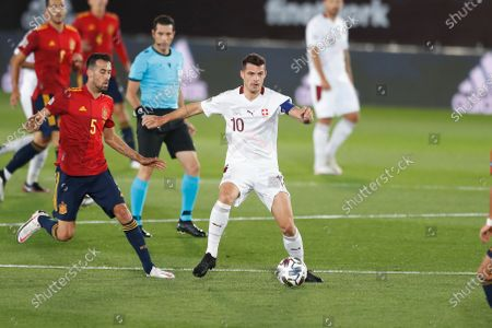 (L-R) Sergio Busquets (ESP), Granit Xhaka (SUI) - Football / Soccer : UEFA Nations League group stage for final tournament Group A4 Matchday 3 between Spain 1-0 Switzerland at the Estadio Alfredo Di Stefano in Madrid, Spain.