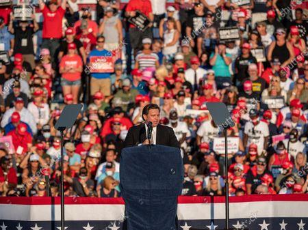 Sanford, FL, U.S: Governor of Florida Ron DeSantis speaks at a campaign rally for President Donald Trump at Orlando Sanford International Airport Million Air Orlando in Sanford, Fl