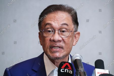 Malaysian opposition leader Anwar Ibrahim speaks during a press conference in Kuala Lumpur, Malaysia, 13 October 2020. Anwar Ibrahim met the Malaysia's king in an attempt to prove he has the parliamentary support needed to replace Prime Minister Muhyiddin Yassin.