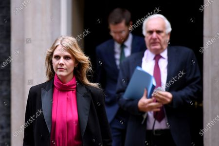 Stock Picture of Cleo Watson, special advisor, Simon Case, Cabinet Secretary and Head of the Home Civil Service, and Sir Ed Lister, Chief Strategic Advisor to the PM, leave No.10 Downing Street to attend a Cabinet meeting at the FCO.