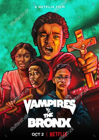 Stock Image of Vampires vs. the Bronx (2020) Poster Art. Coco Jones as Rita, Gerald Jones III as Bobby Carter, Jaden Michael as Miguel Martinez and Gregory Diaz IV as Luis Acosta