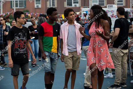 Stock Picture of Gregory Diaz IV as Luis Acosta, Gerald Jones III as Bobby Carter, Jaden Michael as Miguel Martinez and Coco Jones as Rita