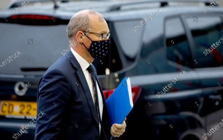 Stock Image of Ireland's Foreign Minister Simon Coveney arrives for a meeting of EU General Affairs ministers at the European Council building in Luxembourg, . European Commission's Head of Task Force for Relations with the United Kingdom Michel Barnier will brief ministers Tuesday on the state of play in EU-UK Brexit negotiations ahead of a key EU summit on Thursday