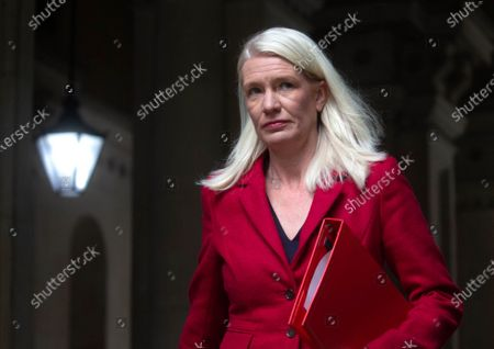 Amanda Milling, Minister without Portfolio and Co-Chair of the Conservative Party, returns from the Cabinet meeting.