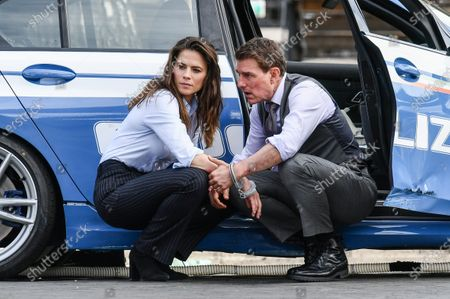 Tom Cruise and Hayley Atwell on set of the movie 'Mission Impossible 7' in Via dei Fori Imperiali in Rome