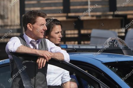 Actors Tom Cruise and Hayley Atwell perform during the shooting of the film Mission Impossible 7, by Christopher McQuarrie, in Rome