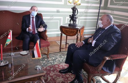 Egyptian Foreign Minister Sameh Shoukry (R) meets with Jordan's Foreign Minister Ayman Safadi (L) at Tahrir palace, in Cairo, Egypt, 13 October 2020. Egyptian, Iraqi and Jordanian foreign ministers met in Cairo to discuss economic cooperation and regional issues of mutual interest.