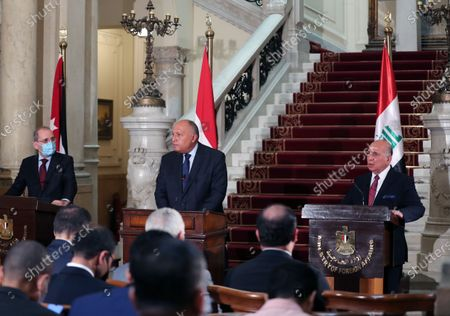Egyptian Foreign Minister Sameh Shoukry (C), Iraqi Foreign Minister Fuad Hussein (R) and Jordan's Foreign Minister Ayman Safadi (L) during a press conference at Tahrir palace, in Cairo, Egypt, 13 October 2020. Egyptian, Iraqi and Jordanian foreign ministers met in Cairo to discuss economic cooperation and regional issues of mutual interest.