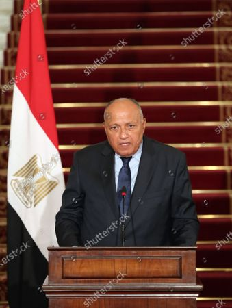 Stock Photo of Egyptian Foreign Minister Sameh Shoukry during a press conference at Tahrir palace, in Cairo, Egypt, 13 October 2020. Egyptian, Iraqi and Jordanian foreign ministers met in Cairo to discuss economic cooperation and regional issues of mutual interest.