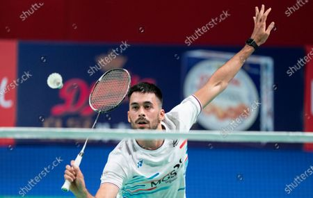 Spain's Luis Enrique Penalver in action against  Rasmus Gemke of Denmark during their men's singles match at the Danisa Denmark Open badminton tournament in Odense, Denmark, 13 October 2020.