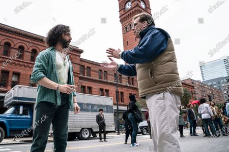 Jeremy Strong as Jerry Rubin, Alex Sharp as Rennie Davis and Aaron Sorkin as Writer/Director