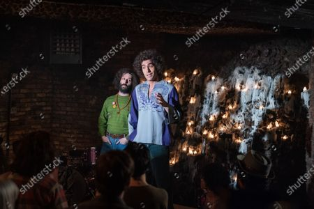 Stock Photo of Jeremy Strong as Jerry Rubin and Sacha Baron Cohen as Abbie Hoffman