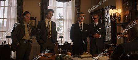 Stock Picture of Mark Rylance as William Kunstler, Ben Shenkman as Leonard Weinglass, Joseph Gordon-Levitt as Richard Schultz and J.C. MacKenzie as Thomas Foran